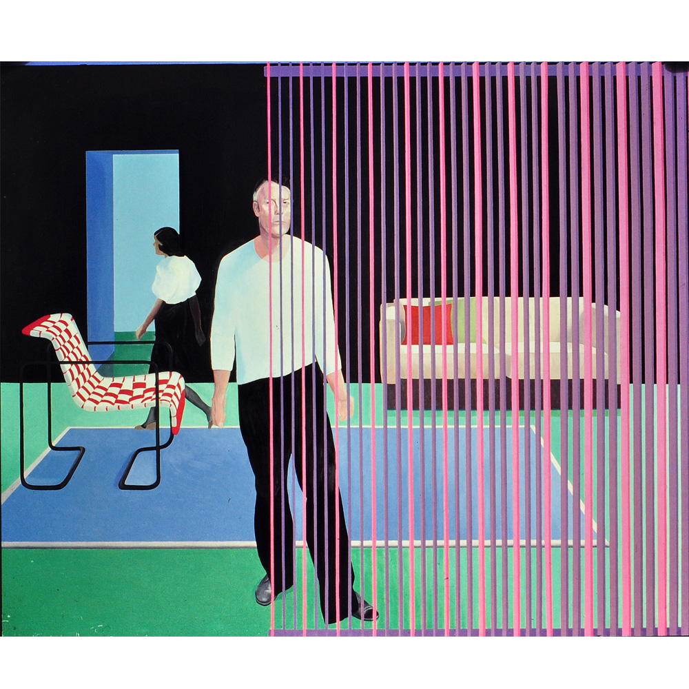 "Two Figures Retical Blind Red Chair 96"" × 84"" oil on linen 1983"